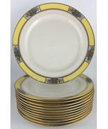 Lenox M3B set of (12) twelve salad / luncheon plates - yellow / floral - $275.00