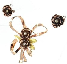 VINTAGE CORO STERLING ROSE GOLD RIBBON PIN & EARRINGS - $53.99
