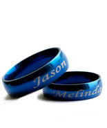 Personalized His and Her Blue Plated Wedding Ring Set Engraved Rings - $49.99