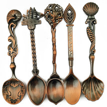 5 Pcs Alloy Vintage Royal Style Bronze Carved Small Coffee Spoon Flatware - $19.99
