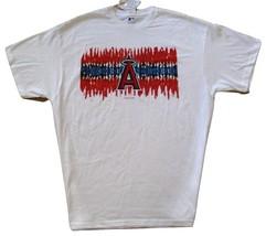 MLB Los Angeles Angels White T Shirt Scribble Logo Design Red & Blue 3XL  NWT - $15.99