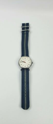 Primary image for Timex Weekender Indiglo Men Blue/Gray  Canvas Band Analog Quartz Watch WORKING