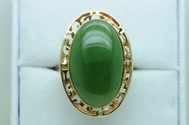 Art Deco Style (ca. 1940) 14K Yellow Gold Large Nephrite Ring (Size 9) - $365.00