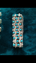 turquoise & silver colored beaded stretch bracelet - $26.99