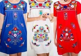 SHORT Womens S-XL Mexican Folklorico Tehuacan Puebla Floral Boho Dress T... - $39.00+