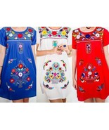 SHORT Womens S-XL Mexican Folklorico Tehuacan Puebla Floral Boho Dress T... - $39.00+