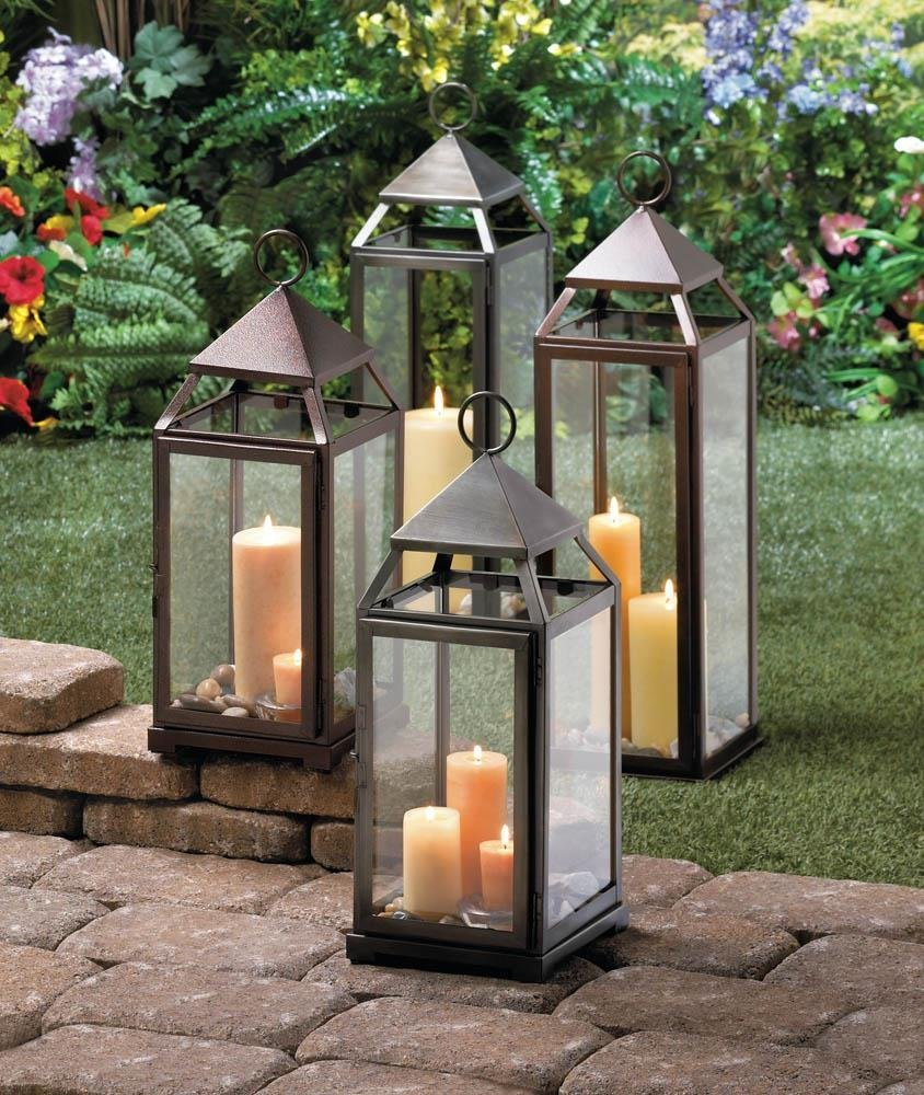 metal lanterns, Large Contemporary hanging decorative floor patio outdoor lanter