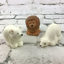 Fisher Price Little People Zoo Animal Figures Lot Of 3 Polar Bears And Lion - $11.88