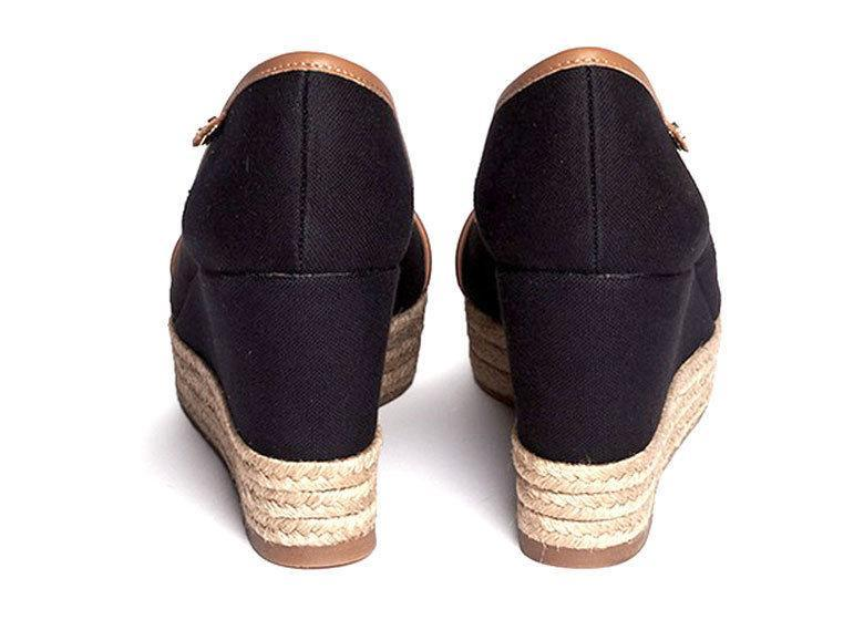 5aa4356403d11 ... Tory Burch  majorca  Wedge Sandals Peep Toe Espadrille Pumps Shoes  Black ...