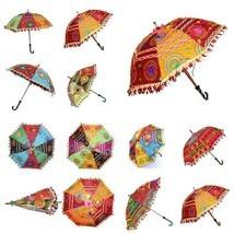 Indian Mandhi Party Hand Embroidered Parasol Vintage Sun Shade Umbrella ... - $27.92