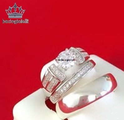 14K White GP 925 Silver Diamond Engagement Ring Wedding Band Trio Set His & Her