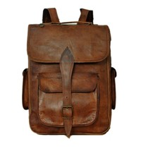 Men leather school backpack school messenger travel bag handbag messenge... - $57.96+