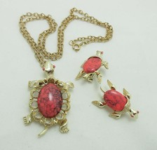 Turtle Brooch Pin Necklace Set Pink Marbled Gold Tone Cabochon Gerry's 9066 - $33.66