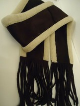 Ladies Fownes Faux Shearling,Suede Fringed Scarf, O/S - $37.12