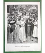 CHRISTMAS RAFFLE Ladies Ball Fashion - VICTORIAN Antique Print - $6.74