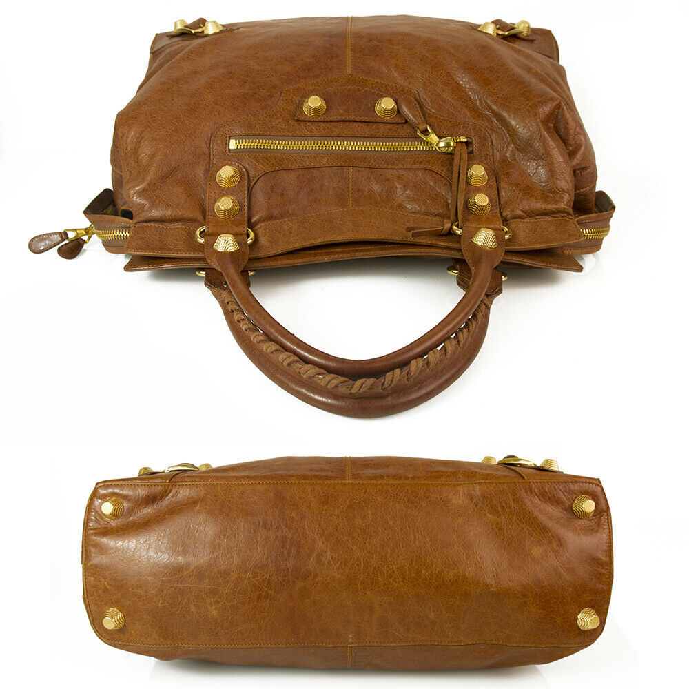 BALENCIAGA Tan Brown Leather Giant 21 Gold Weekender Bag retailed at $2,385  image 3