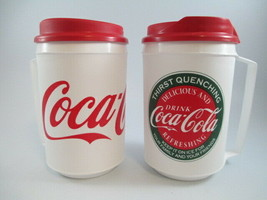 Coca-Cola Set of 2 Plastic Insulated Travel Mug Can Holders Retro White - $10.89