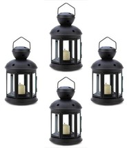 Four (4) Colonial star black metal glass hanging candle holder patio la... - $27.00
