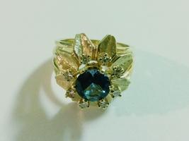 Vintage 14k Karat Gold, Diamonds and Blue Topaz Flower Cocktail Statemen... - $650.00