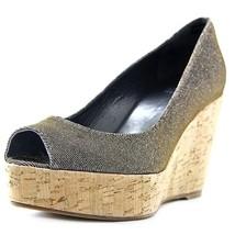 Stuart Weitzman Anna Women US 6 W Gold Peep Toe Wedge Heel - $297.50