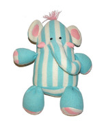 Circo Blue White Pink Striped Sweater Elephant Plush Lovey Stuffed Animal - $38.49