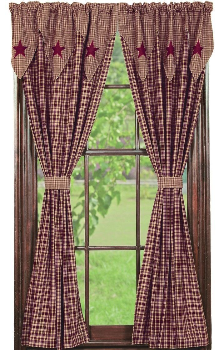 Primary image for Olivia's Heartland country primitive Vintage Star Wine Panel curtains 36x84