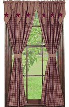 Olivia's Heartland country primitive Vintage Star Wine Panel curtains 36x84 - $89.95
