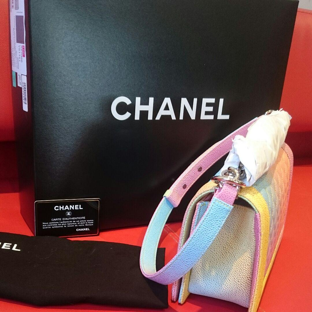 0dcb98ff14d32d Chanel Boy Shoulder Bag Rainbow Pouch Woman Auth New Never Used Rare M Size