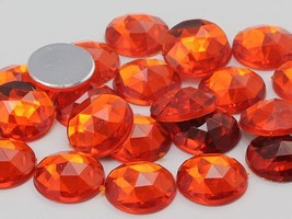 25mm Orange Hyacinth .HC Flat Back Round Acrylic Gems - 20 Pieces - $6.01
