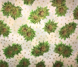 RJR Holiday Accents Christmas Pine Cones Gold Dots100% cotton fabric by ... - $8.78