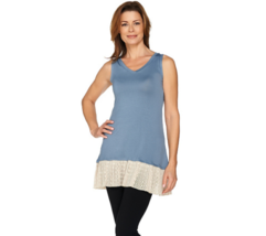 LOGO Layers by Lori Goldstein Knit Tank with Broomstick Mesh Polka-Dot T... - $29.69