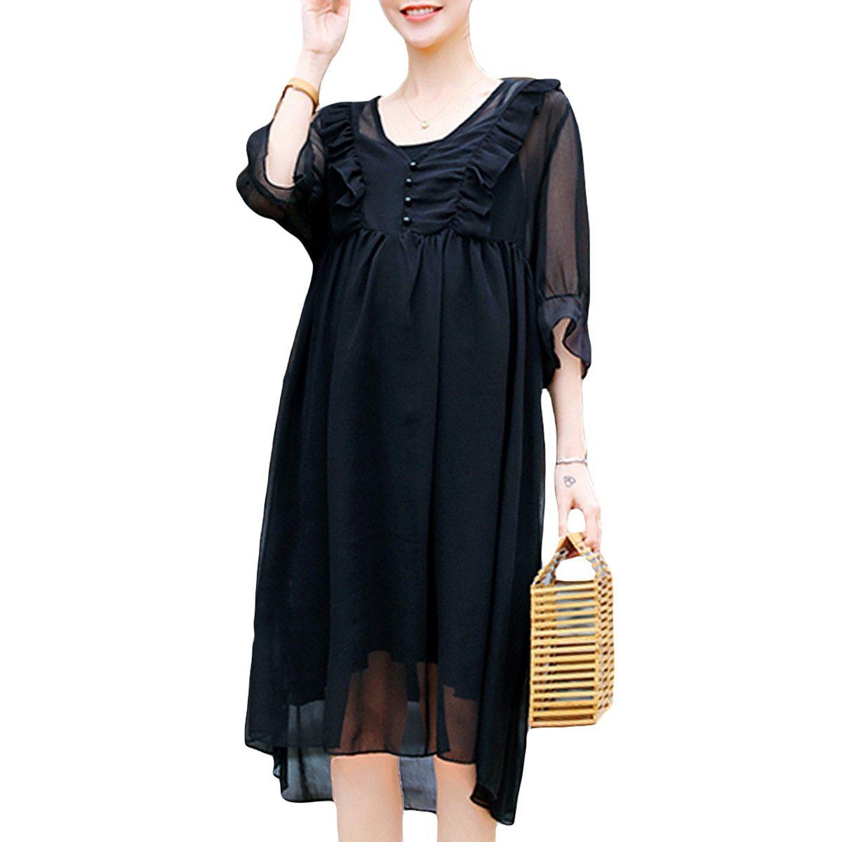 2Pcs Maternity Dress Set Fashion Solid Color V Neck Loose Casual Dresses Suit