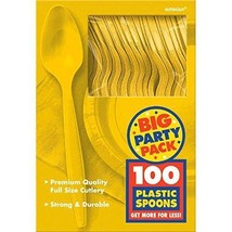 Big Party Pack Yellow Sunshine Plastic Spoons, 100ct - $12.19