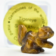 Tiger's Eye Gemstone Tiny Miniature Squirrel Hand Carved Stone Figurine