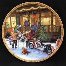 2002 Harley Davidson Christmas Winter Holiday Season Deck The Harley Plate - $49.49