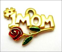 # 1 MOM RED ROSE PENDANT Vintage Mothers Day Enamel Goldtone KIS Hashtag... - $12.99