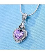 [Jewelry] Purple Amethyst Heart Silver Gold Filled Necklace for Girl/Wom... - $8.99
