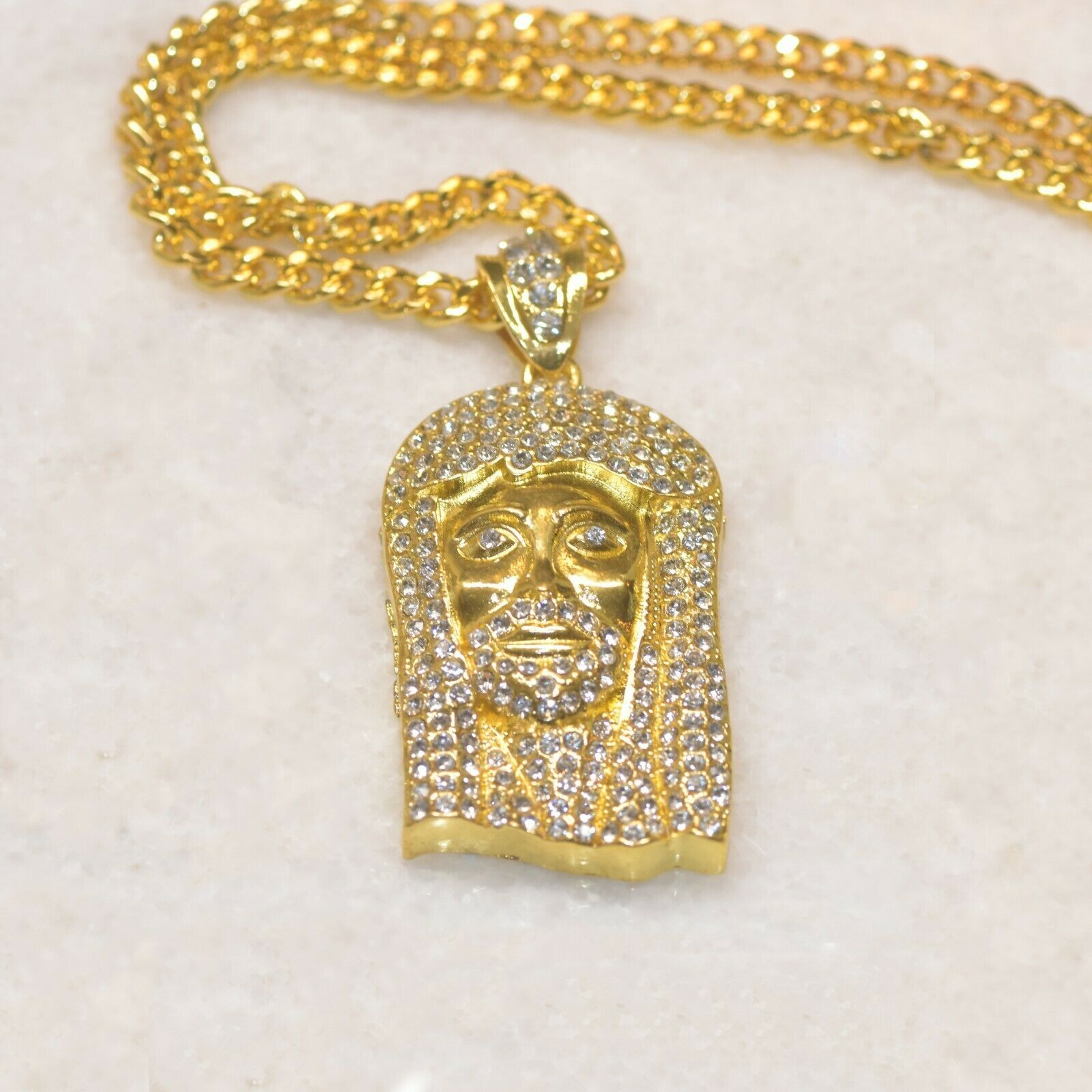 Primary image for ICED OUT RELIGIOUS JESUS FACE & BABY ANGEL PENDANTS + CHAIN NECKLACE