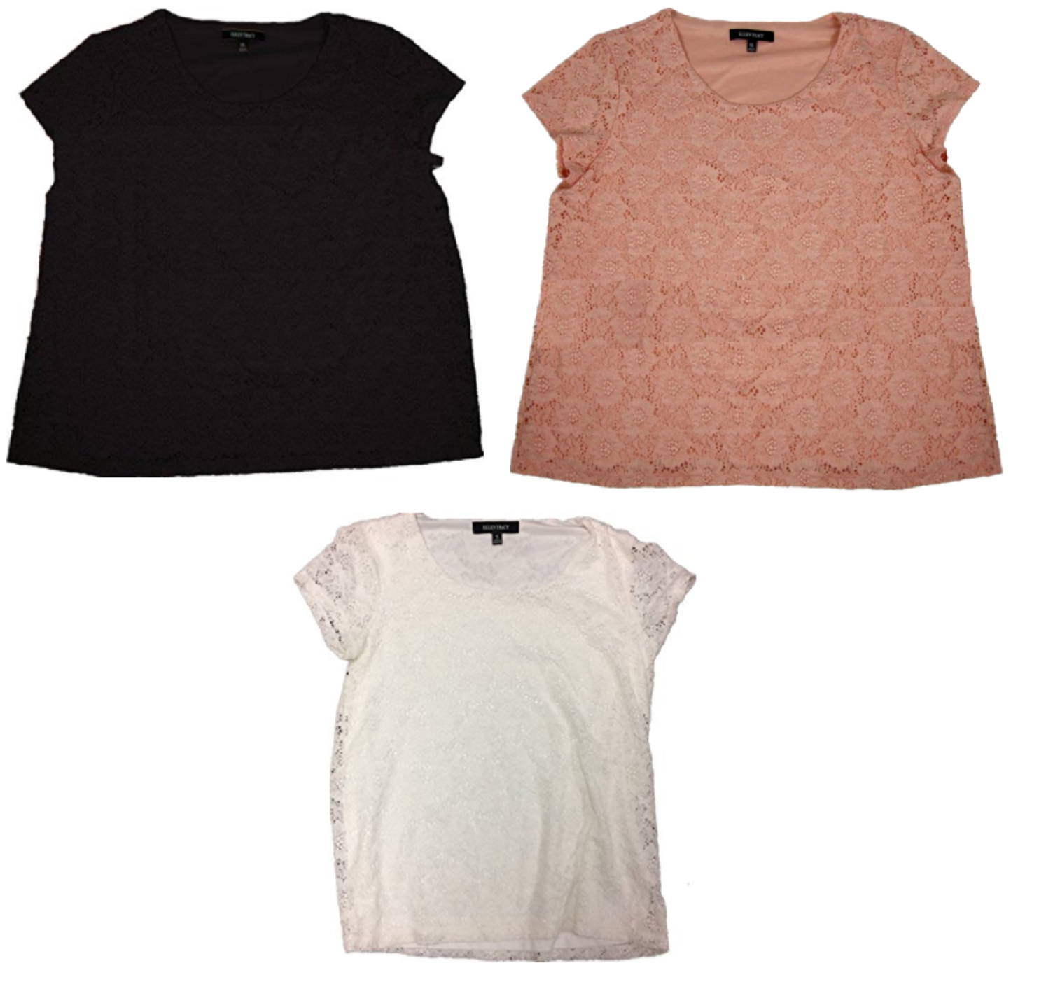 Ellen Tracy Women s Lace Detail Overlay Short Sleeve Top - $8.50