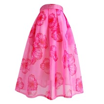 Summer Pink Floral Midi Party Skirt Outfit Organza Plus Size Midi Skirt Pockets image 6