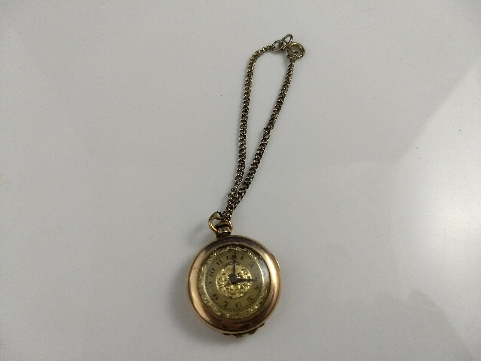 vtg WADSWORTH RELGIS HELBROS W & CO 15j 10k GOLD FILLED POCKET WATCH Swiss rare image 3