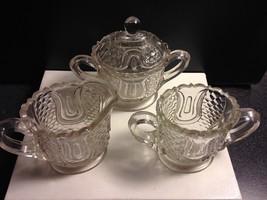 Federal Glass Tulip & Honeycomb 3 Pc Sugar w Lid Creamer Spooner Clear E... - $16.95