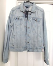Tommy Hilfiger Vintage Look Denim Jacket Coat 100% Cotton Blue Size Xl New - $48.95