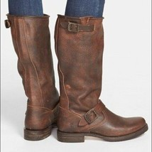 FRYE Veronica Slouch Moto Engineer Boots Brown weathered Leather  7 B - $57.83