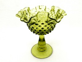 Fenton Colonial Green Glass Comport, Hobnail Pattern, Ruffled Rim, FNT226 - $14.65