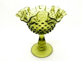 Fenton Colonial Green Glass Comport, Hobnail Pattern, Ruffled Rim, FNT226 - $14.65