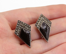BOMA 925 Sterling Silver- Vintage Black Onyx & Marcasite Drop Earrings -... - $27.67