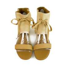 See By Chloe Beige Suede Leather Bootie Open Toe Flats Sandals Shoes sz 37 - €173,90 EUR