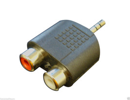 New 3.5mm audio jack out plug to 2 rca splitter adapter - $0.99