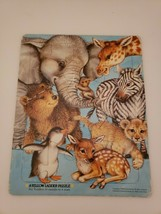 A Yellow Ladder Puzzle Tray Puzzle Animals 1988 - $3.46